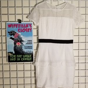 NWT Mystic White Dress w/ Mesh Sleeve & Black Band